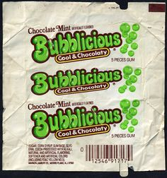 Bubblicious Chocolate Mint Gum - Loved this gum! I was constantly chewing gum.: Never Had This, But I Remember It! 80s Candy, Bubble Yum, Bubble Gum Flavor, Mint Gum, Gum Flavors, Vintage Packaging, Vintage Candy, Candy Wrappers, After School Snacks