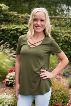 Pink Slate Boutique - No Strings Attached Top (Olive), $26.00…