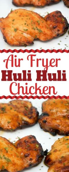 """hawaiian food recipes Huli Huli Chicken is a sweet and savory Hawaiian dish that will soon become your favorite Air Fryer chicken recipe. Huli Huli means """"turn turn."""" If you don't have a rotisserie, the Air Fryer is a great substitute. Hawaiian Dishes, Hawaiian Chicken, Hawaiian Recipes, Air Fryer Recipes Meat, Air Fryer Rotisserie Recipes, Meat Recipes, Delicious Recipes, Cooking"""