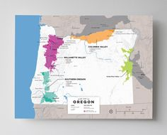 Wine Map of Oregon, USA with Cities