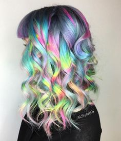 Trend Alert: 15 Holographic Hair Colors for Long Hair: Unique Holographic Co - All For Hair Color Trending Pelo Multicolor, Opal Hair, Cotton Candy Hair, Bright Hair Colors, Colourful Hair, Hair Colours, Pastel Rainbow Hair, Multicolored Hair, Neon Hair
