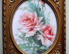 Col crema rosas impresión marco Catherine por VictorianRosePrints