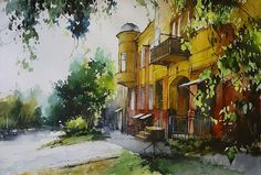 Vjacheslav Kurseev Watercolor Artists, Artist Painting, Watercolour Painting, Architecture Art, Photo Wall, Community, City, Artwork, Pictures
