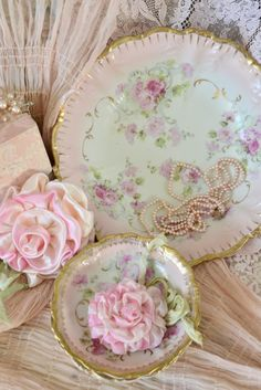 pink roses and rose china vignette...i just love it...