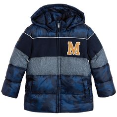 Mayoral Boys Blue Camouflage Padded Coat at Childrensalon.com