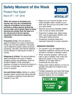Protect Your Eyes! Alberta Oil Tool's Moment of the Week Dover ALS Safety Moment Topics, Workplace Safety Topics, Office Safety, Fire Safety Poster, Health And Safety Poster, Safety Posters, Eye Safety, Safety Tips, Safety Meeting