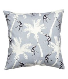 Light gray/palms. Cushion cover in woven cotton fabric with a printed pattern. Concealed zip at lower edge.