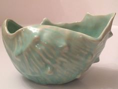 Stunning Vintage McCoy Shell Planter Vase Lovely Aqua Blue Green 1940s Unmarked