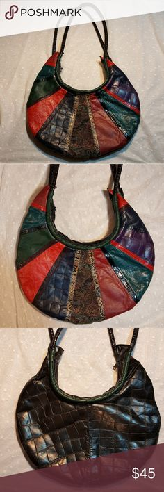 "Vintage Samir 80s Multicolor Leather Handbag Vintage 80s Samir Multicolor Leather Handbag Excellent vintage condition! A medley of colors & textures on the front; black croc-embossed leather on the back & straps Genuine leather; Made in USA Very spacious- measures approximately 18"" L x 10"" H x 1"" D (flat); strap drop is approximately 20"" Vintage Bags Shoulder Bags"