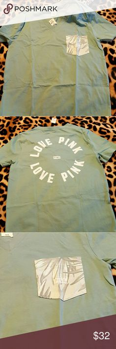VS PINK NWT LOGO CAMPUS VNECK POCKET TEE XS PALM Brand new in package Victoria's Secret PINK line  SZ xs  New never worn or even tried on RARE  Campus VNECK POCKET TEE COLOR block  OVERSIZED  LARGE Logo on back  Tunic length I love offers, but please be respectful, no lowballing THANKS  #vsbombshellbaby @poshmarkapp #poshmarkapp #vspink PINK Victoria's Secret Tops Tees - Short Sleeve