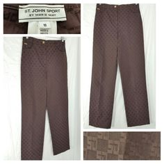 ST. JOHN SPORT by Marie Gray brown SJ logo pants size 10 gold hardware (A) #StJohn #CasualPants