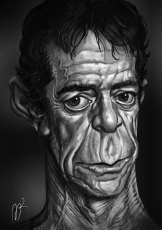 Lou Reed Caricature by Marzio Mariani. #Celebrity #Caricatures #Oddonkey