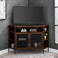 Welwick Designs Dark Walnut Industrial Corner TV Console for TV's up to 52 in. - The Home Depot Corner Unit Tv Stand, Corner Tv Console, Tv In Corner, Black Corner Tv Stand, Room Corner, Corner Table, Media Furniture, Living Room Furniture, Corner Furniture