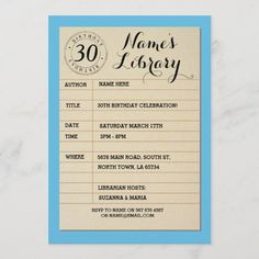 Book Birthday Parties, Birthday Name, 30th Birthday, Birthday Party Invitations, Birthday Celebration, Birthday Cards, Card Book, Library Card, Rsvp