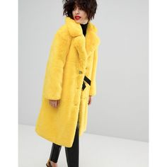 Mango Faux Fur Tonal Coat (4.560 CZK) ❤ liked on Polyvore featuring outerwear, coats, yellow, faux fur coat, fake fur coat, fur-lined coats, imitation fur coats and faux fur lined coat