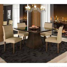 Conjunto para Sala de Jantar 100% MDF com Mesa Quadrada Tampo com Vidro e 4 Cadeiras 5038 Chocolate/Animale Bege - LJ Móveis
