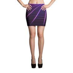 Electric Universe Grid Mini Skirt Clothing 1980's vintage fashion style rad awesome vaporwave Japan Hip Hop Street Style Wear music nostalgia totally purple pink glow grid time travel sci fi blue