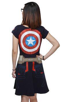 Adorable Captain America Dress Back