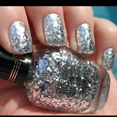 Silver nails big glitters glittery shiny manicure