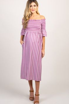 834870aeeec Lavender Striped Smocked Off Shoulder Maternity Dress