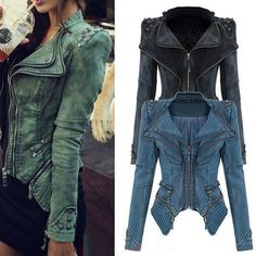 Stud Embellished Asymmetrical Hem Zippers Pockets Denim Solid Color Coat For Women