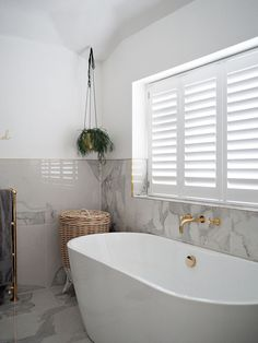 White DIY Window Shutters Bathroom
