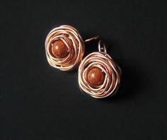 Rose earrings copper rose earrings earrings rose by styledonna