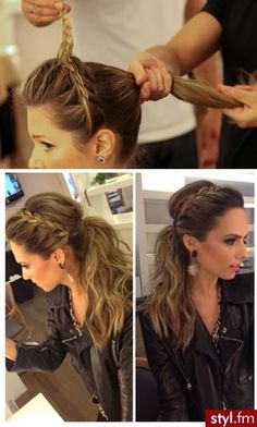 Separate the top half of the crown and section off the bottom into a ponytail. Next waterfall the top braid and section that off. Then tease the bottom half putting it into a low ponytail. Last combine the braid into the ponytail.