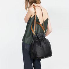 LEATHER BUCKET BAG from Zara
