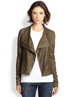 Vince - Draped Leather Jacket