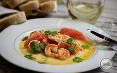 Krewetki w białym winie z grejpfrutem i kolendrą - przepis - Tapenda.pl Fish And Seafood, Bruschetta, Cilantro, Sushi, Chicken, Ethnic Recipes, Cubs, Sushi Rolls
