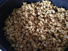 Addictive Caramel Corn! 2 c. brown sugar (packed) 1 c. butter ½ c. dark corn syrup 1 tsp salt ½ tsp baking soda 5 qts popcorn (2 bags micro natural popcorn, remove kernels after popping.) Pop corn & keep warm in roasting pan in a 250-deg oven. Combine butter, sugar, syrup, & salt in a saucepan. Bring to boil slowly & boil for 5 min. Remove from heat. Stir in baking soda. Pour immed over popcorn & mix well. Place in oven. Bake 1 hr, stirring every 15 min. Let cool & break apart.