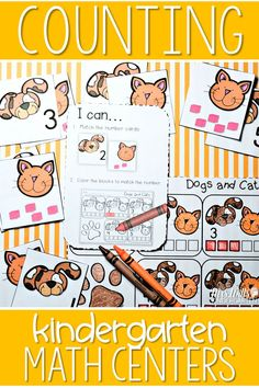 """Counting math centers in kindergarten.  Great for back to school activities and resources.  Response sheet and """"I Can"""" card helps with student independence."""