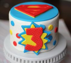 "Fondant Cake Topper - Over 30 Pieces Superman Inspired Cake Kit Set - Designed for a 6"" Cake"