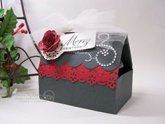 Not quite a card, but a great gift box design from Debbie Sayer on the DiscountCardstock.com design team.