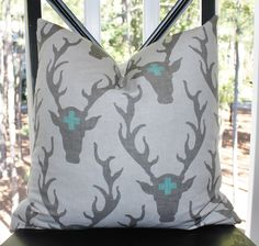 rustic THROW PILLOWS | ... Gray Antler Stag - Buck - Deer Pillow - Rustic Modern - Throw Pillow