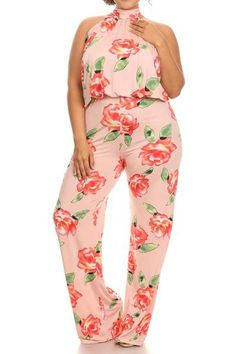 6cacca11ccaa Plus Size Pretty Summer Rose Jumpsuit Jumpsuit 2016, Plus Size Jumpsuit,  Trendy Plus Size