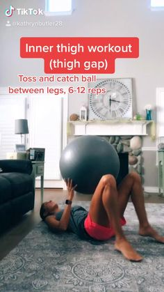The best stability ball exercises to tone your inner thighs. #lowerbodyworkout #legday #homeworkout Inner Thight Workout, Stability Ball Exercises, Exercise Ball Exercises, Excercise, Workout Videos, Workout Programs, Exercises To Tone Thighs, Workouts To Tone, Inner Thigh Exercises