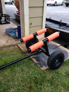 DIY Kayak cart finished. I used 1 inch PVC pipe. I purchased a 10 foot section and used the bottom of my kayak (because of the awkward shape of the Ascend FS128T) to determine the length of the cuts. The 10 foot section costs around $3.75 at Home Depot. The bolt holding the wheels on is 5/8ths, 3 feet long and around $9. They will cut it to length for you. The two wheels were $5 at Harbor Freight Tools and the orange pool noodle was $2 at Walmart. After the initial