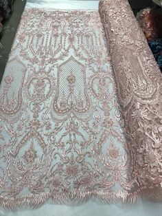 0e9edd3767171a Beaded Fabric - By The Yard Pink Lace Heavy Beads For Bridal Veil Flower  Mesh Dress Top Wedding Decoration. Geborduurde Kant ...