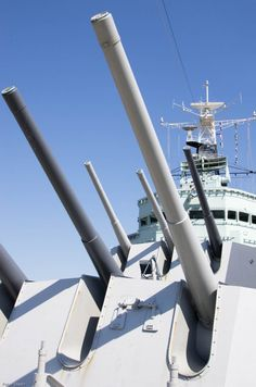 """The main 6"""" guns of the Royal Navy's HMS Belfast - now a museum ship permanently moored next to Tower Bridge on the Thames, London. They have a range of 20+ miles!"""