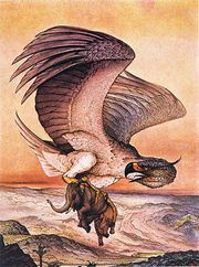 Roc is a legendary bird of prey in Persian mythology. It is often described as giant with a white colouration.
