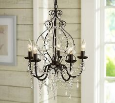 Wrought iron crystal chandelier lighting country french white one wrought iron crystal chandelier lighting country french white one light free shipping ceiling fixture for the home pinterest country french aloadofball Images