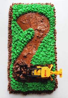 Road Construction Tractor Birthday Cake - great tasting, make-ahead cake & frosting recipe perfect for a kid's birthday!                                                                                                                                                                                 More