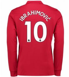 Billiga Manchester United Zlatan Ibrahimovic 10 Hemmatröja 17-18 Långärmad Neymar Jr, Manchester United, Premier League, Barcelona, Graphic Sweatshirt, The Unit, Sweatshirts, Sports, Sweaters