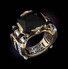#BlackandGold Men's Gold Ring