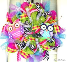 Owl Wreath Summer Wreath by BamaBelleWreaths on Etsy