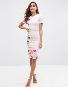 ASOS | ASOS Placed Floral Printed T-Shirt Bodycon Dress