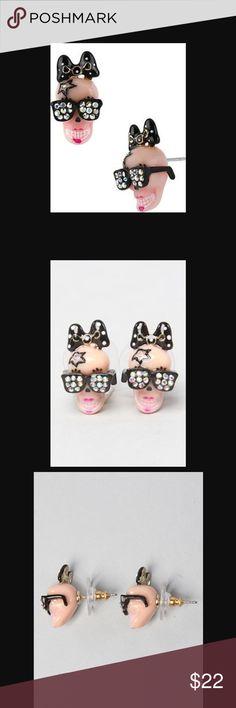 Betsey Johnson film noir girl skull stud earrings Excellent condition Betsey Johnson Jewelry Earrings