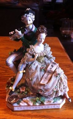 pretty Dresden lace figurine of musical couple